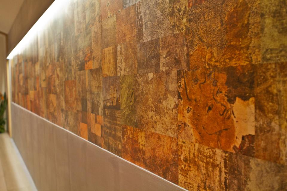 26 foot collage with 350 photographs of Roman walls by Diane Epstein