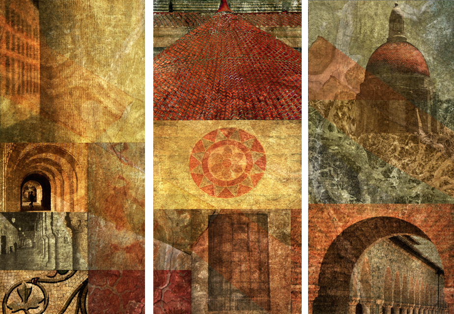 Shapes of Wisdom: Fresco Photography Collage Triptych 7x5 ft. (Stanford University, CA)